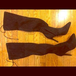 Thigh High black heeled boots
